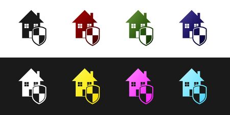 Set House under protection icon isolated on black and white background. Home and shield. Protection, safety, security, protect, defense concept. Vector Illustration Standard-Bild - 128759831