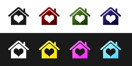 Set House with heart shape icon isolated on black and white background. Love home symbol. Family, real estate and realty. Vector Illustration