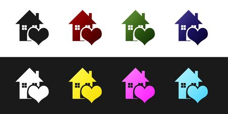 Set House with heart shape icon isolated on black and white background. Love home symbol. Family, real estate and realty. Vector Illustration Standard-Bild - 128759841