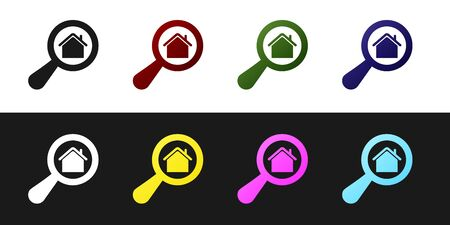 Set Search house icon isolated on black and white background. Real estate symbol of a house under magnifying glass. Vector Illustration
