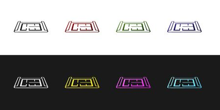 Set House plan icon isolated on black and white background. Vector Illustration Standard-Bild - 128759850