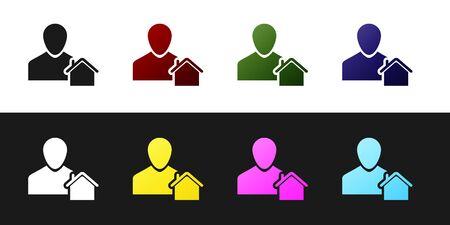 Set Realtor icon isolated on black and white background. Buying house. Vector Illustration Standard-Bild - 128759864
