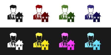 Set Realtor icon isolated on black and white background. Buying house. Vector Illustration