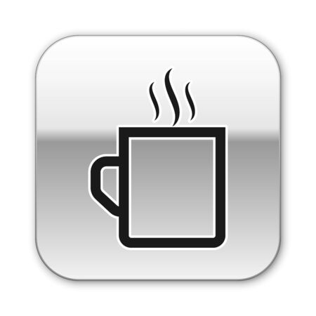 Black Coffee cup flat icon isolated on white background. Tea cup. Hot drink coffee. Silver square button. Vector Illustration  イラスト・ベクター素材
