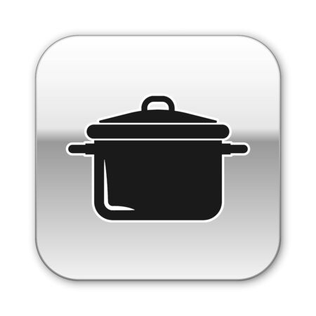 Black Cooking pot icon isolated on white background. Boil or stew food symbol. Silver square button. Vector Illustration Illustration