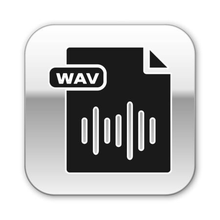 Black WAV file document. Download wav button icon isolated on white background. WAV waveform audio file format for digital audio riff files. Silver square button. Vector Illustration Illustration