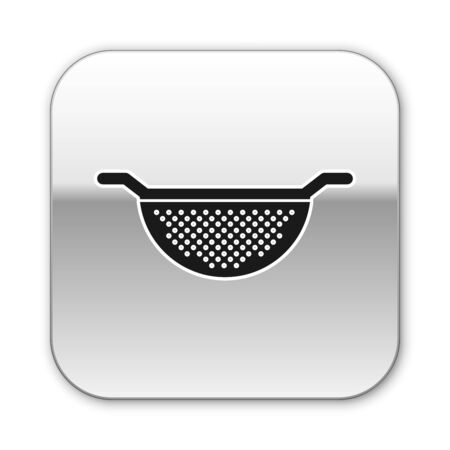 Black Kitchen colander icon isolated on white background. Cooking utensil. Cutlery sign. Silver square button. Vector Illustration