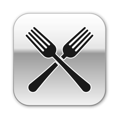 Black Crossed fork icon isolated on white background. Cutlery symbol. Silver square button. Vector Illustration Stock Illustratie