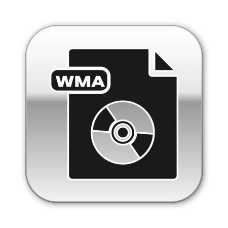 Black WMA file document. Download wma button icon isolated on white background. WMA file symbol. Wma music format sign. Silver square button. Vector Illustration