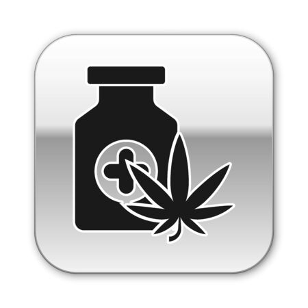 Black Medical bottle with marijuana or cannabis leaf icon isolated on white background. Mock up of cannabis oil extracts in jars. Silver square button. Vector Illustration  イラスト・ベクター素材