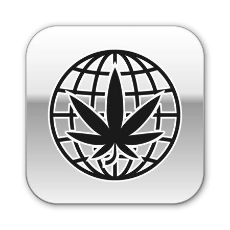 Black Legalize marijuana or cannabis globe symbol icon isolated on white background. Hemp symbol. Silver square button. Vector Illustration