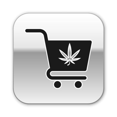 Black Shopping cart with marijuana or cannabis leaf icon isolated on white background. Online buying. Delivery service. Supermarket basket. Silver square button. Vector Illustration
