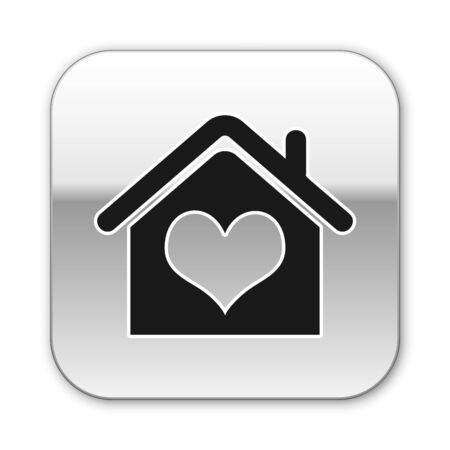Black House with heart shape icon isolated on white background. Love home symbol. Family, real estate and realty. Silver square button. Vector Illustration