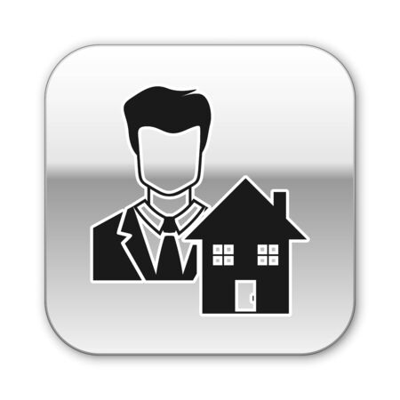 Black Realtor icon isolated on white background. Buying house. Silver square button. Vector Illustration Illustration