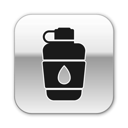 Black Canteen water bottle icon isolated on white background. Tourist flask icon. Jar of water use in the campaign. Silver square button. Vector Illustration