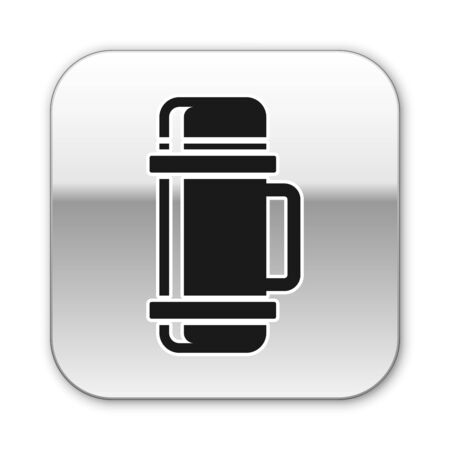 Black Thermos container icon isolated on white background. Thermo flask icon. Camping and hiking equipment. Silver square button. Vector Illustration