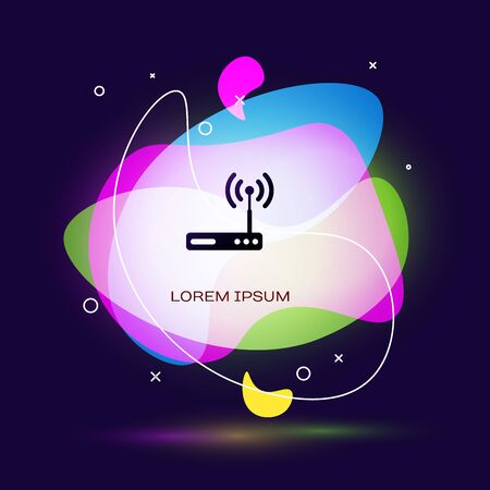 Black Router and wifi signal symbol icon isolated on dark blue background. Wireless ethernet modem router. Computer technology internet. Abstract banner with liquid shapes. Vector Illustration Illustration