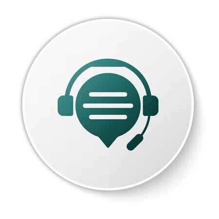 Casque vert avec icône de chat bulle isolé sur fond blanc. Support service client, hotline, centre d'appels, faq, maintenance. Bouton cercle blanc. Illustration vectorielle Vecteurs