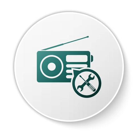 Green Radio with screwdriver and wrench icon isolated on white background. Adjusting, service, setting, maintenance, repair, fixing. White circle button. Vector Illustration