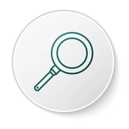 Green Frying pan icon isolated on white background. Fry or roast food symbol. White circle button. Vector Illustration
