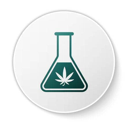 Green Chemical test tube with marijuana or cannabis leaf icon isolated on white background. Research concept. Laboratory CBD oil concept. White circle button. Vector Illustration Иллюстрация