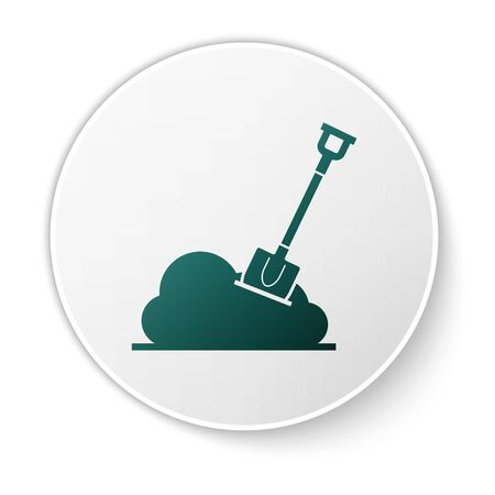 Green Shovel in the ground icon isolated on white background. Gardening tool. Tool for horticulture, agriculture, farming. White circle button. Vector Illustration