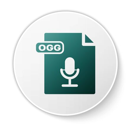 Green OGG file document. Download ogg button icon isolated on white background. OGG file symbol. White circle button. Vector Illustration