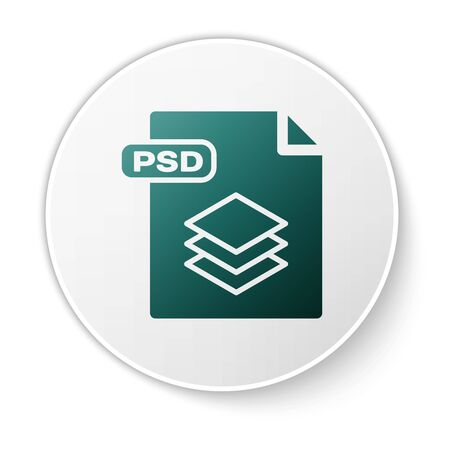 Green PSD file document. Download psd button icon isolated on white background. PSD file symbol. White circle button. Vector Illustration