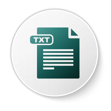 Green TXT file document. Download txt button icon isolated on white background. Text file extension symbol. White circle button. Vector Illustration