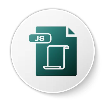 Green JS file document. Download js button icon isolated on white background. JS file symbol. White circle button. Vector Illustration