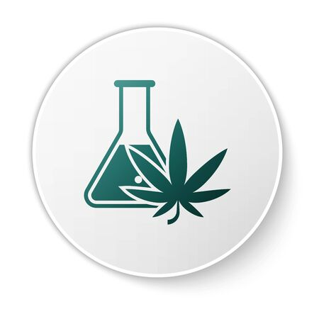 Green Chemical test tube with marijuana or cannabis leaf icon isolated on white background. Research concept. Laboratory CBD oil concept. White circle button. Vector Illustration Ilustracja