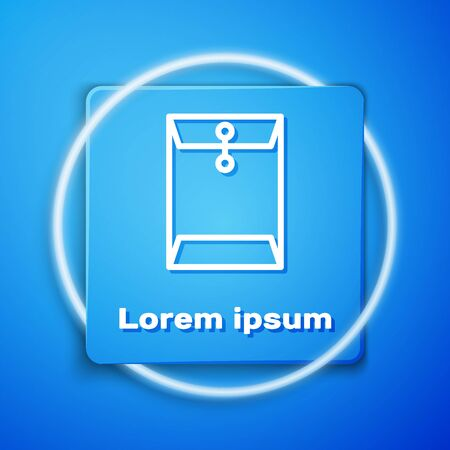 White Envelope icon isolated on blue background. Email message letter symbol. Blue square button. Vector Illustration