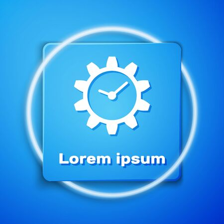 White Time Management icon isolated on blue background. Clock and gear sign. Blue square button. Vector Illustration Illustration