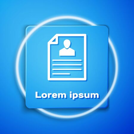 White Resume icon isolated on blue background. CV application. Searching professional staff. Analyzing personnel resume. Blue square button. Vector Illustration  イラスト・ベクター素材