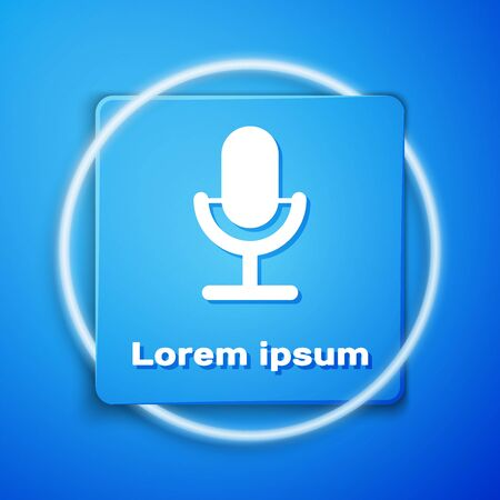 White Microphone icon isolated on blue background. On air radio mic microphone. Speaker sign. Blue square button. Vector Illustration