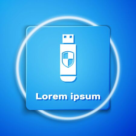 White USB flash drive and protection shield icon isolated on blue background. Blue square button. Vector Illustration