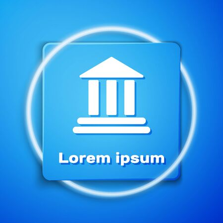 White Bank building icon isolated on blue background. Blue square button. Vector Illustration