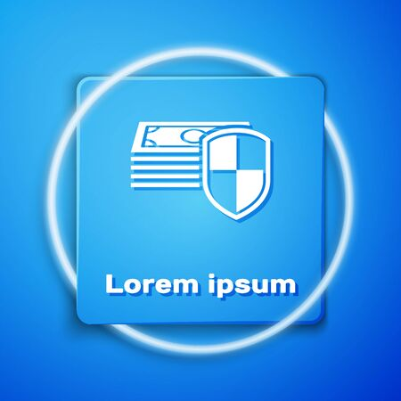 White Money protection icon isolated on blue background. Financial security, bank account protection, fraud prevention, secure money transaction. Blue square button. Vector Illustration Ilustração