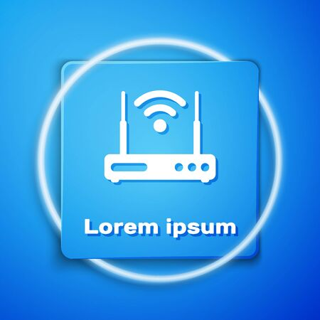 White Router and wireless signal symbol icon isolated on blue background. Wireless modem router. Computer technology internet. Blue square button. Vector Illustration Illustration