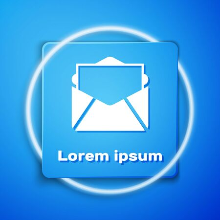 White Mail and e-mail icon isolated on blue background. Envelope symbol e-mail. Email message sign. Blue square button. Vector Illustration