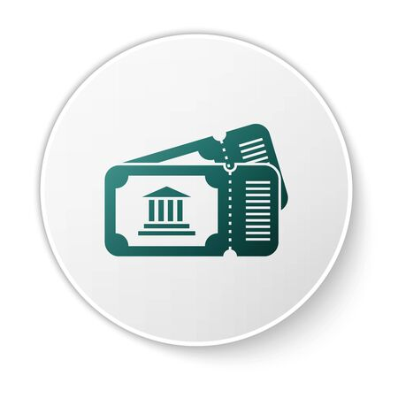 Green Museum ticket icon isolated on white background. History museum ticket coupon event admit exhibition excursion. White circle button. Vector Illustration  イラスト・ベクター素材