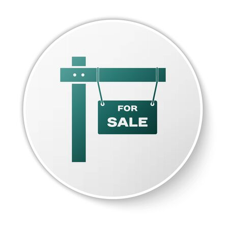 Green Hanging sign with text For Sale icon isolated on white background. Signboard with text For Sale. White circle button. Vector Illustration