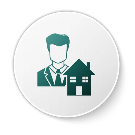 Green Realtor icon isolated on white background. Buying house. White circle button. Vector Illustration