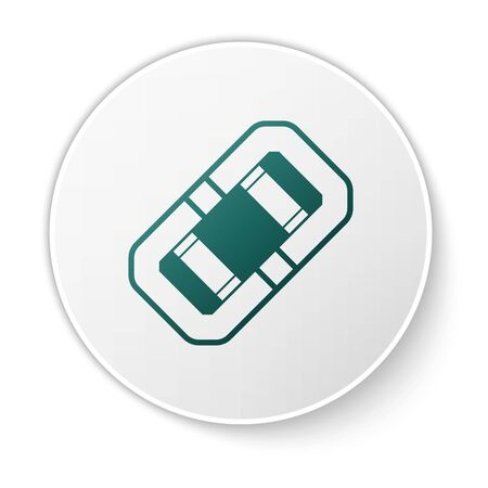 Green Rafting boat icon isolated on white background. Inflatable boat. Water sports, extreme sports, holiday, vacation, team building. White circle button. Vector Illustration Illustration