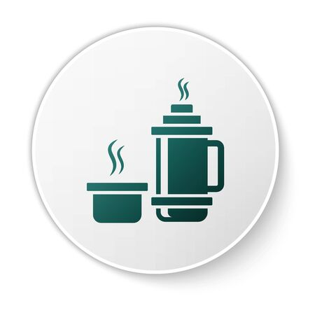 Green flask container icon isolated on white background. Thermo flask icon. Camping and hiking equipment. White circle button. Vector Illustration Ilustração
