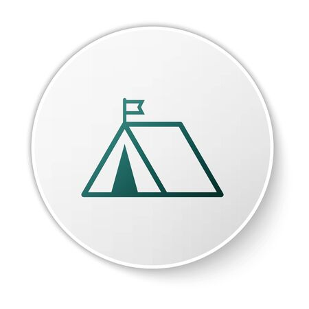 Green Tourist tent with flag icon isolated on white background. Camping symbol. White circle button. Vector Illustration