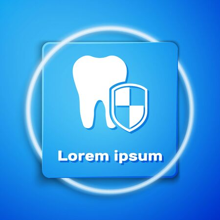 White Dental protection icon isolated on blue background. Tooth on shield logo. Blue square button. Vector Illustration Illustration