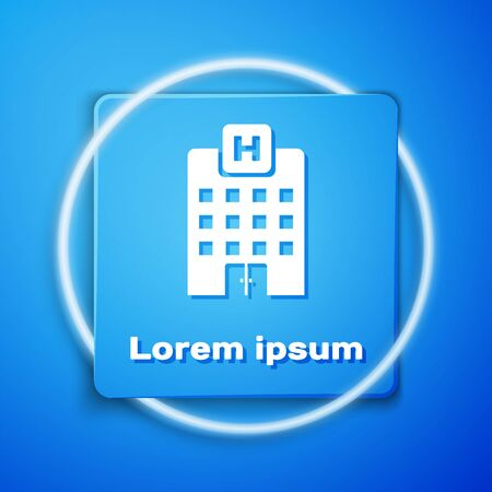 White Medical hospital building with cross icon isolated on blue background. Medical center. Health care. Blue square button. Vector Illustration