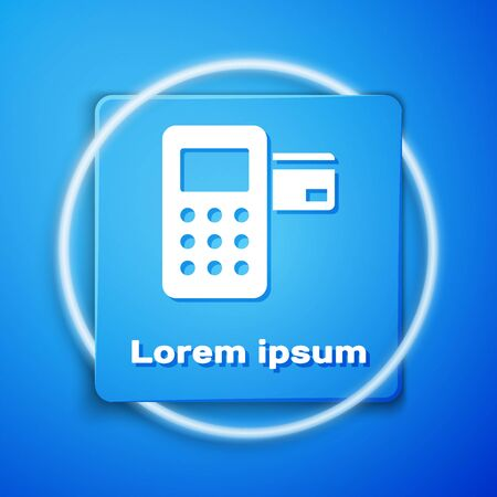 White Pos terminal with inserted credit card icon isolated on blue background. Payment terminal transaction. Blue square button. Vector Illustration