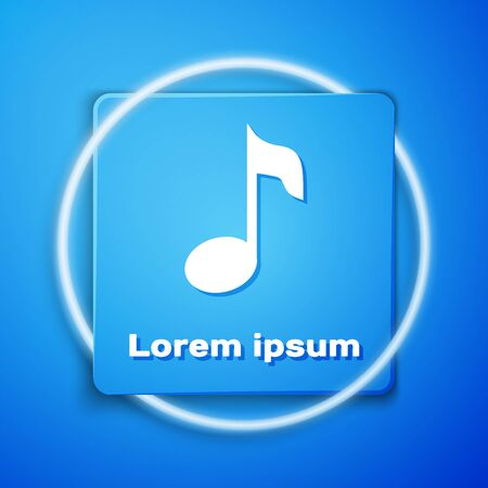 White Music note, tone icon isolated on blue background. Blue square button. Vector Illustration